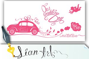 Funny pink wedding card