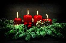 Advent decoration burning candles