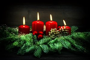 Advent decoration burning candles