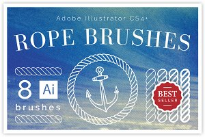 8 Nautical Rope Brush Set