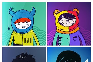 vector modern funny characters
