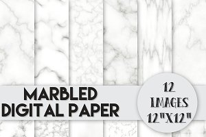 Marbled Digital Paper Set