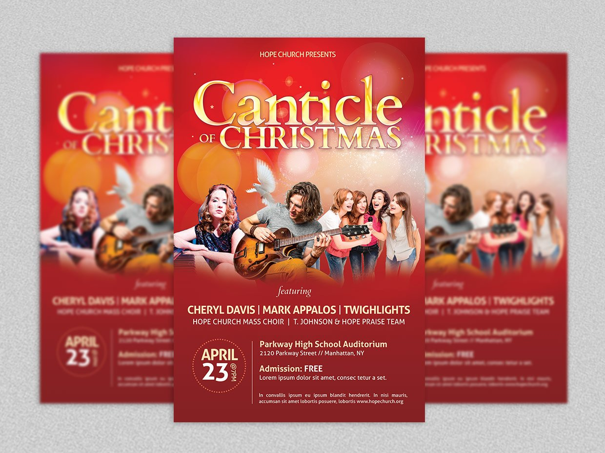 christmas concert flyer poster flyer templates creative market. Black Bedroom Furniture Sets. Home Design Ideas