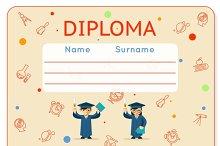 School kids diploma certificate
