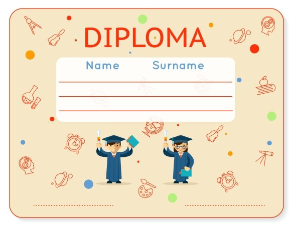 school kids diploma certificate graphics creative market