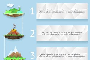 Low poly islands infographics