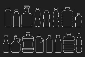 Line glass plastic bottles icons set