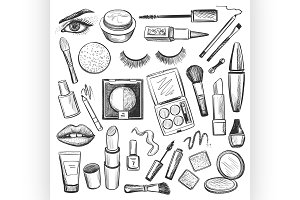 Hand drawn Beauty and makeup icons
