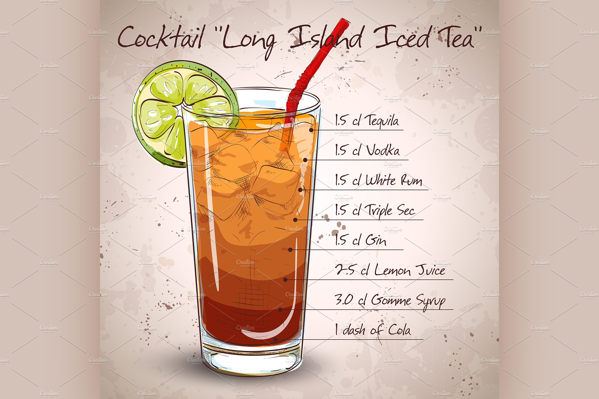Cocktail Long Island Iced Tea Illustrations Creative