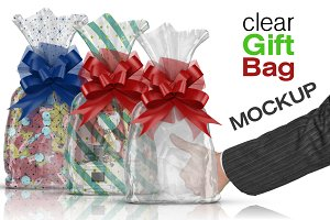 Clear Cello Gift Bag Mockup