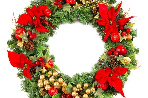 Christmas wreath poinsettia flower