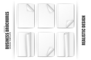 Set Of Blank White Paper Brochure