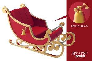Santa Sleigh 3D Render