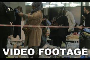 Syrian Refugees Taking Food Donated
