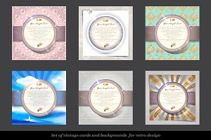 Set of vintage invitation cards