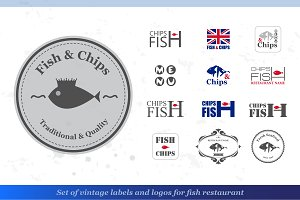 Set of fish and chips labels