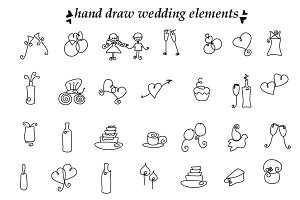 Wedding hand draw elements