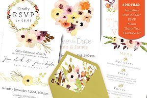 Watercolour Wedding Invitation Set