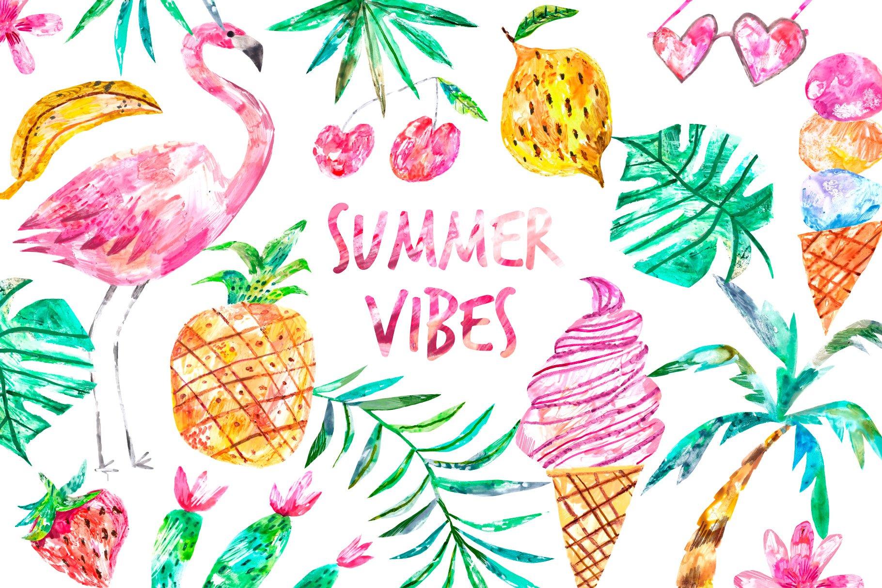 Hand drawn summer clipart set   Pre-Designed Photoshop Graphics ~ Creative  Market