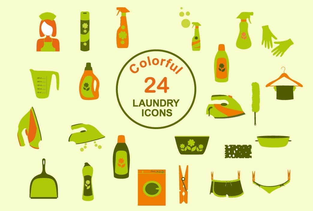 laundry and washing color icons icons creative market