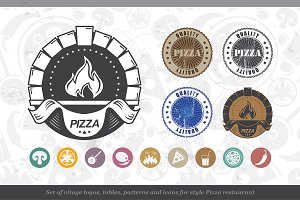 Set of Icons Pizza Restourant