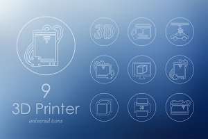 9 three d printer icons