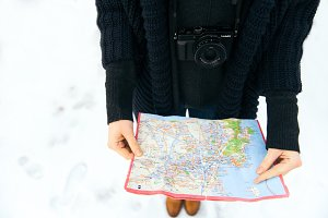 Winter wanderlust, adventure and map