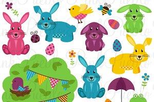 Easter Clipart & Vectors Eggs Bunny