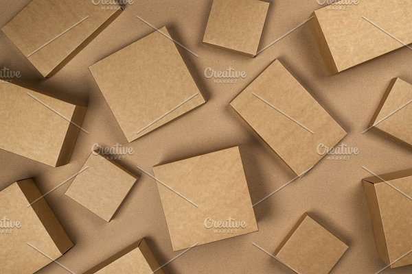Brown cardboard boxes on craft paper