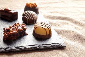 Bonbons on a slate plate