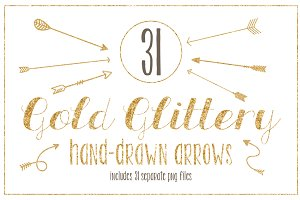 Gold Glittery Hand-drawn Arrows