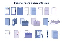 Paperwork and documents icons set