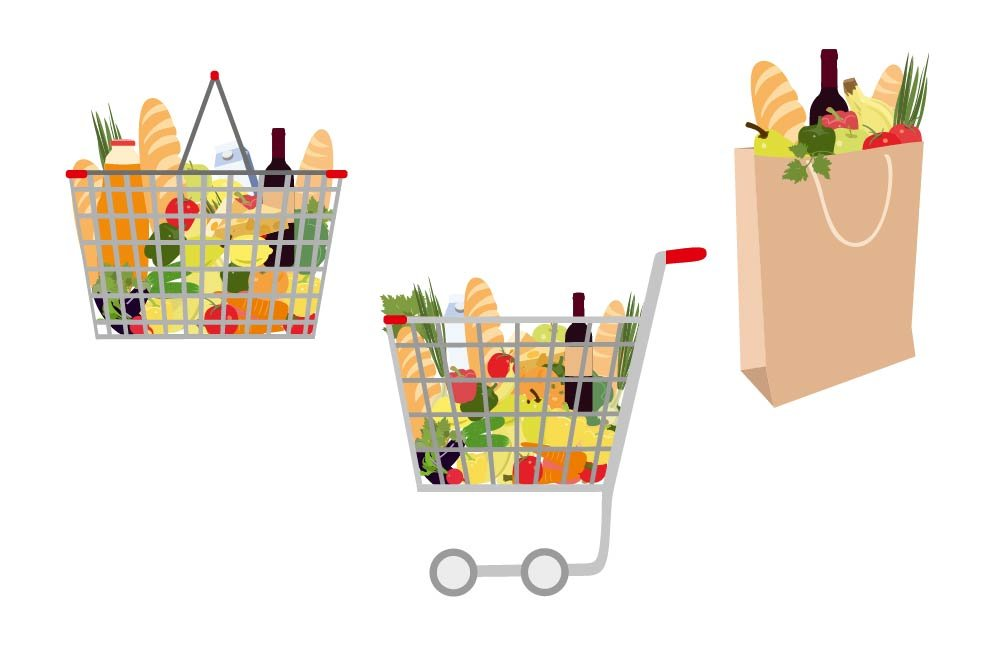 Full Grocery Cart Clipart Grocery backet with fo...