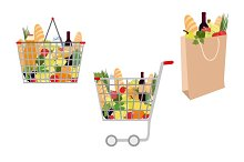 Grocery backet with food clip art