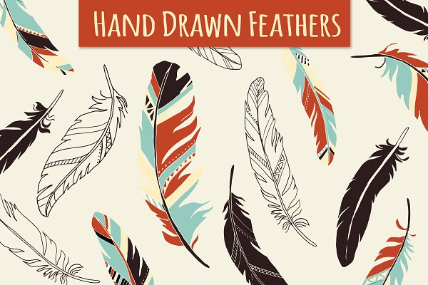 Feather Elements / Hand Drawn