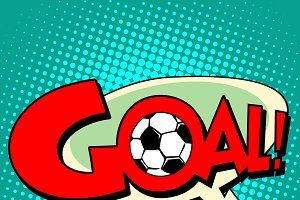 Goal football comic style text