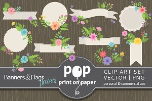 Vector - 10 Banners & Flags Flowers