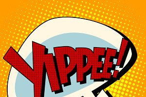 yippee win comic book bubble text