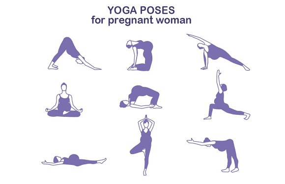 Yoga poses for pregnant women ~ Graphics on Creative Market  Yoga poses for ...