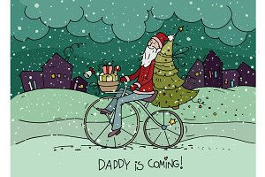 Santa Claus on bicycle with gifts