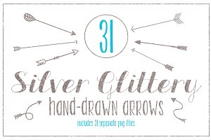 Silver Glittery Hand-drawn Arrows