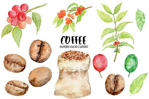 Watercolor Coffee Beans Clipart