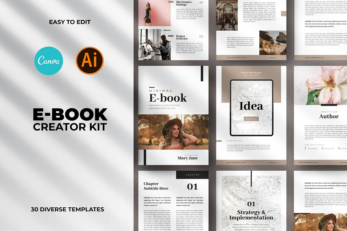 Minimal Ebook Templates For Canva in Magazine Templates - product preview 8