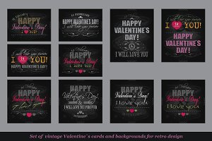 Valentines Day Cards Set