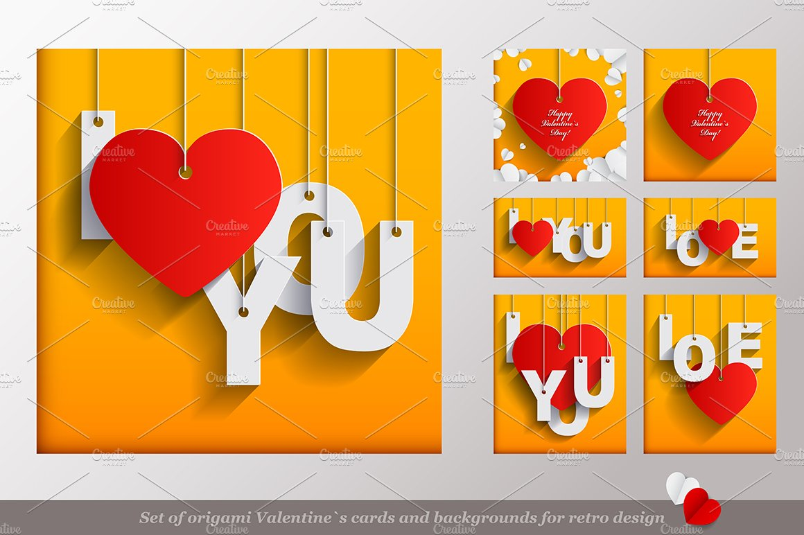 Valentines Day Origami Cards Set Illustrations Creative Market
