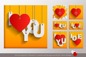Valentines Day Origami Cards Set