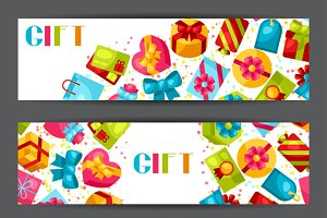 Banners and cards with gift boxes.