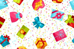 Seamless patterns with gift boxes.