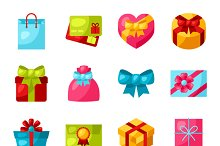 Celebration icon set of gift boxes.