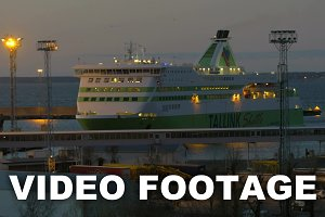 Cruise liner mooring in twilight